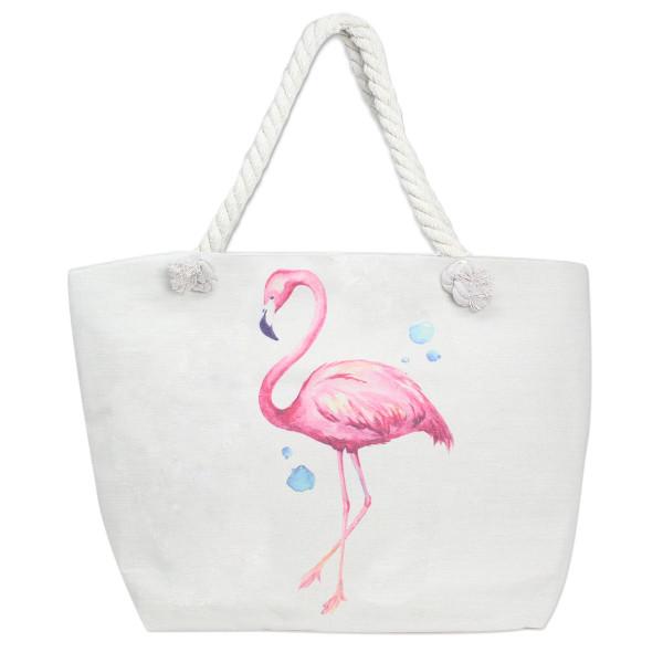 Wholesale canvas tote bag flamingo print top zipper closure rope handles lining