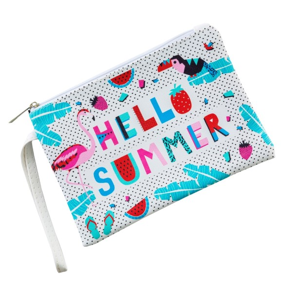 "Hello Summer Print Wristlet Pouch.  - Zipper Closure - No Pockets - Detachable Wristlet  - Approximately 9"" x 6""  - 100% PU Leather"