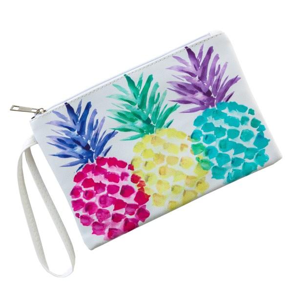 """Multicolor Pineapple Print Wristlet Pouch.  - Zipper Closure - No Pockets - Detachable Wristlet  - Approximately 9"""" x 6""""  - 100% PU Leather"""