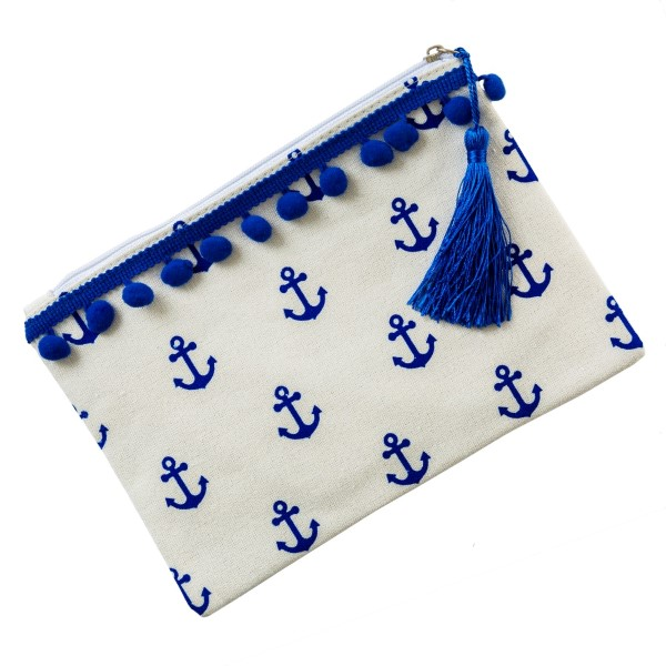 "Canvas pouch with a pom pom trim, top zipper closure and a lined inside. 35% cotton and 65% polyester. Measures 9"" x 6"" in size."