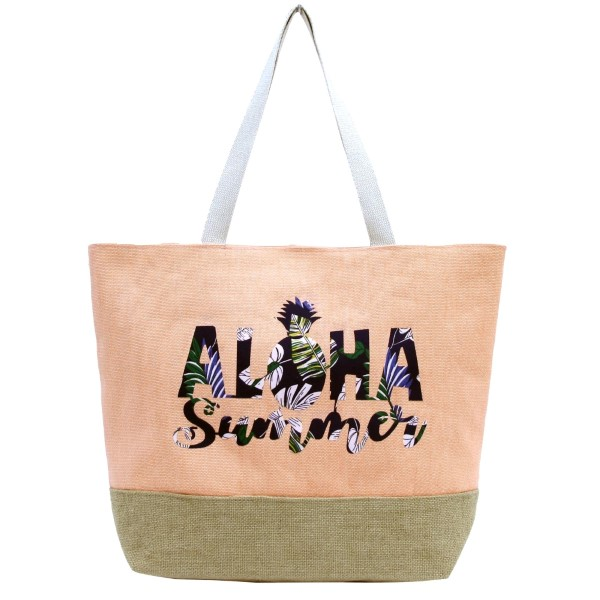 Wholesale aloha Summer tote bag fully lined interior magnetic closure inside po