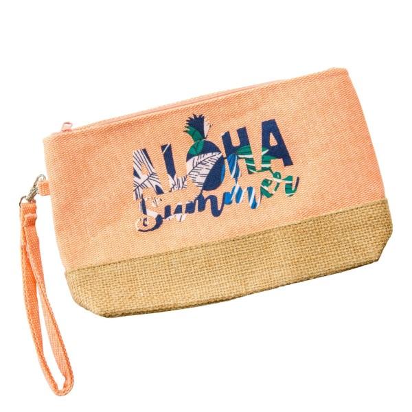 Wholesale aloha Summer canvas jute pouch top zip closure line inside wrist strap
