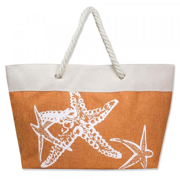 Wholesale canvas tote bag starfish pattern top zipper closure rope handles linin