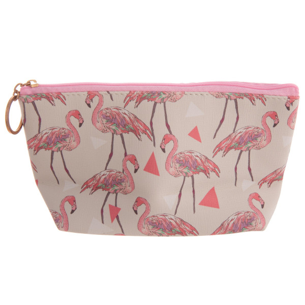 """Pink Flamingo Print Travel Pouch.  - Zipper Closure - Lined Inside - No Pockets  - Approximately 9"""" x 6""""  - 100% PU Leather"""