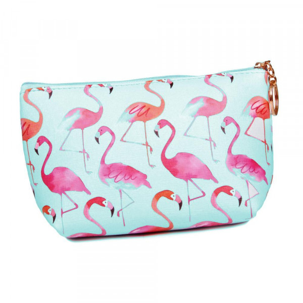 """Blue Flamingo Print Travel Pouch.  - Zipper Closure - Lined Inside - No Pockets  - Approximately 9"""" x 6""""  - 100% PU Leather"""