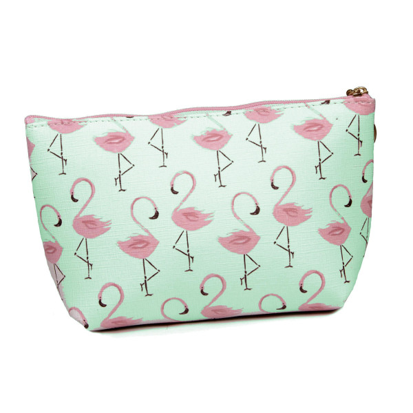 """Green Flamingo Print Travel Pouch.  - Zipper Closure - Lined Inside - No Pockets  - Approximately 9"""" x 6""""  - 100% PU Leather"""