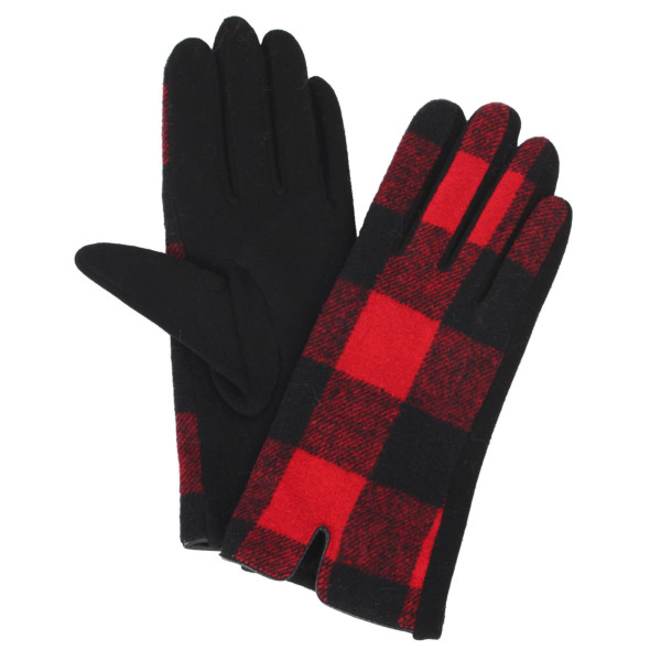 """Plaid gloves with smart touch. 100% polyester. Approximately 9.5""""L"""