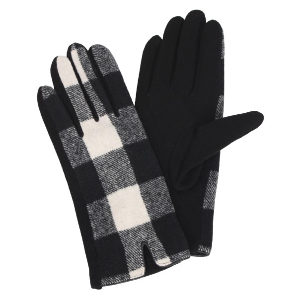 "Buffalo check gloves with smart touch. 100% polyester. Approximately 9.5""L"
