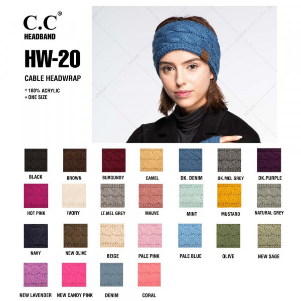 C.C HW-20 Solid Cable Knit Headwrap.  - 100% Acrylic - One size fits most