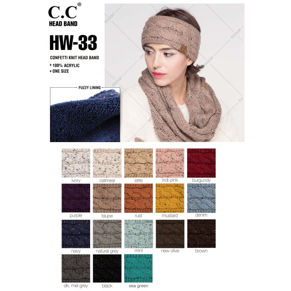 C.C HW-33 Confetti knit headwrap  - 100% Acrylic - One size fits most