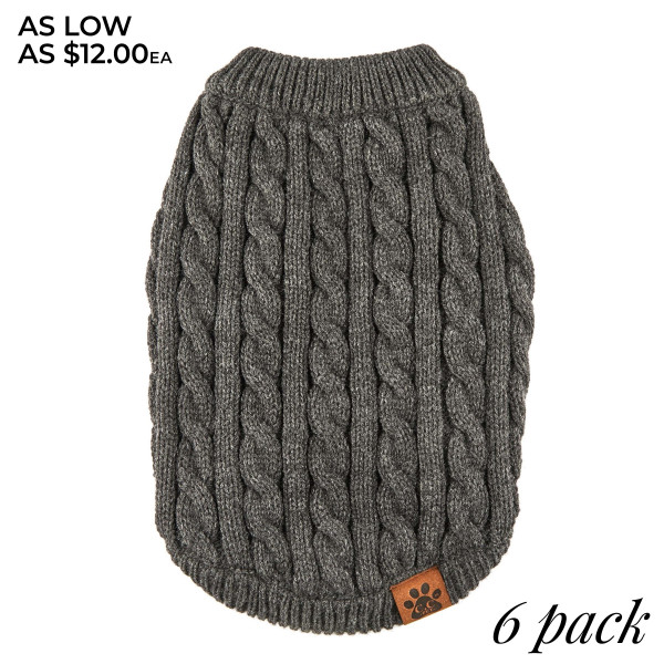 C.C PET4 Cable knitted pet sweater  - Pack Breakdown: 6pcs / pack - Sizes: 1-XS / 2-S / 2-M / 1-L - 100% Acrylic