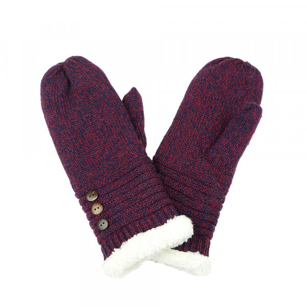 Wholesale knit mittens button detail One fits most