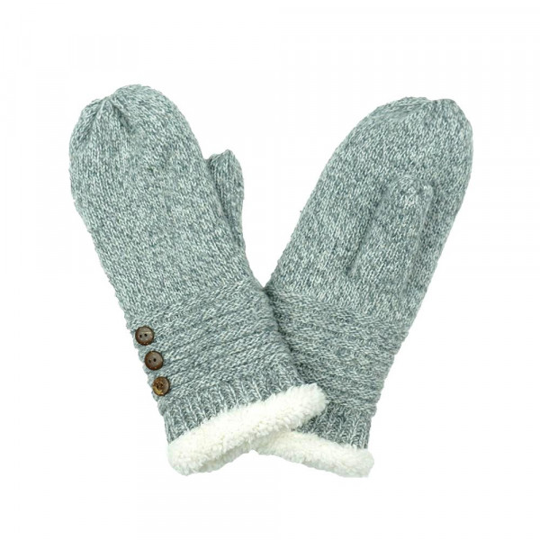 Knit Mittens Featuring Sherpa Cuff Lining & Button Detail.  - One size fits most - 100% Polyester