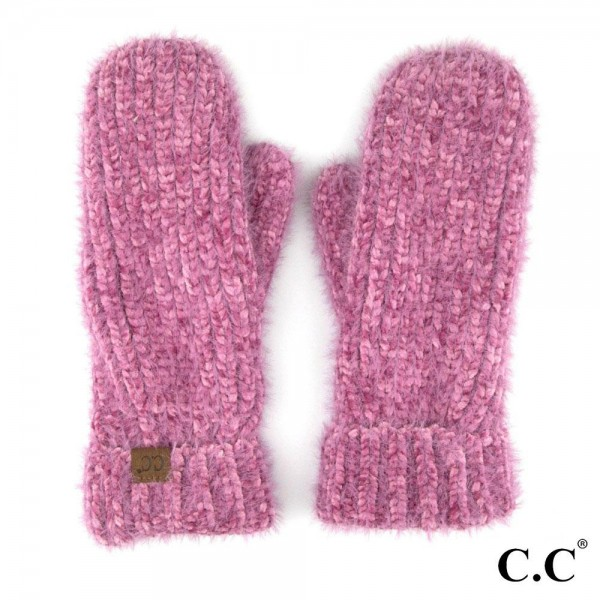 Wholesale c C G Chenille mitten glove fuzzy lining Polyester Nylon One fits most