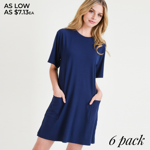Wholesale women s Solid Color Pocket T Shirt Dress o Short o Crewneck o Two open