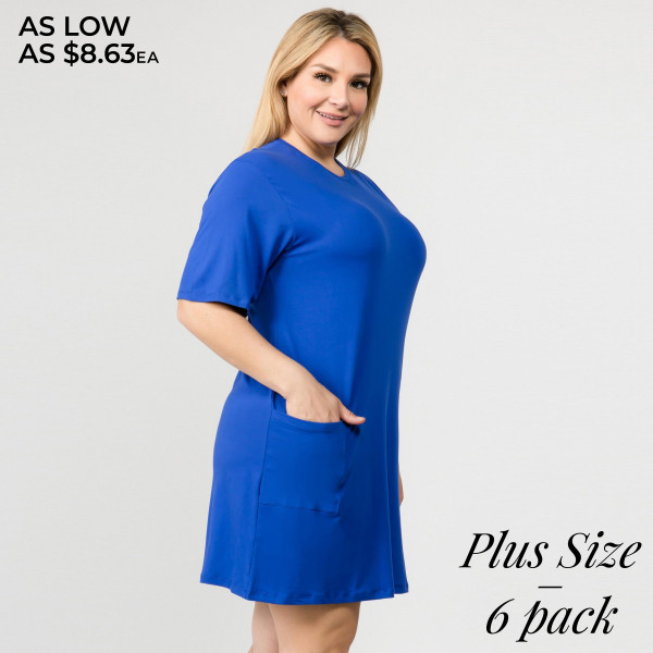 "Women's Plus Size Solid Color Short T-Shirt Dress with Pockets.  • Short  • Crewneck  • Two open front pockets  • Above the knee length hem  • Soft and stretchy fabric  • Imported   - Pack Breakdown: 6pcs pack - Sizes: 2-XL / 2-1X / 2-2X - Approximately 34"" L  - 95% Rayon, 5% Spandex"