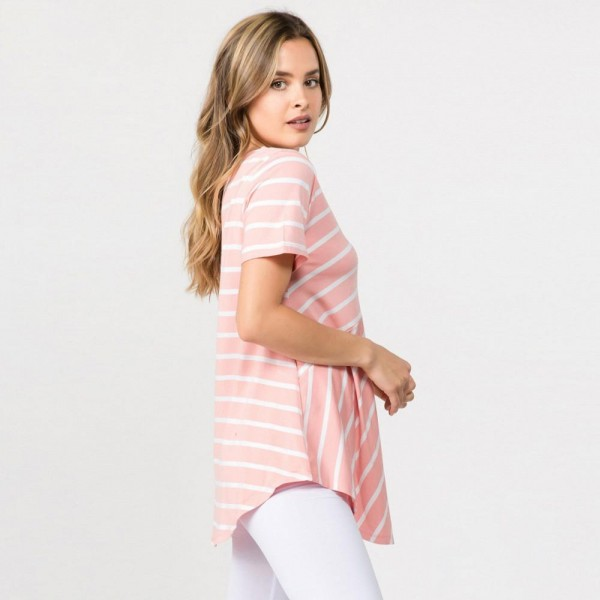 "Striped rose and white short sleeve tunic top. Approximately 27"" in length.  - Pack Breakdown: 6pcs / pack  - Sizes: 2S / 2M / 2L  - Composition: 95% Rayon, 5% Spandex"