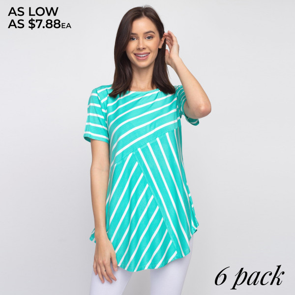 "Striped sea-foam green and white short sleeve tunic top. Approximately 27"" in length.  - Pack Breakdown: 6pcs / pack  - Sizes: 2S / 2M / 2L  - Composition: 95% Rayon, 5% Spandex"