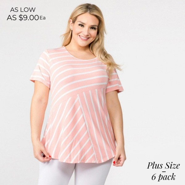 """PLUS size striped short sleeve tunic top. Approximately 30"""" in length.  - Pack breakdown: 6pcs / pack  - Sizes: 2-XL / 2-1X / 2-2X  - Composition: 95% Rayon, 5% Spandex"""