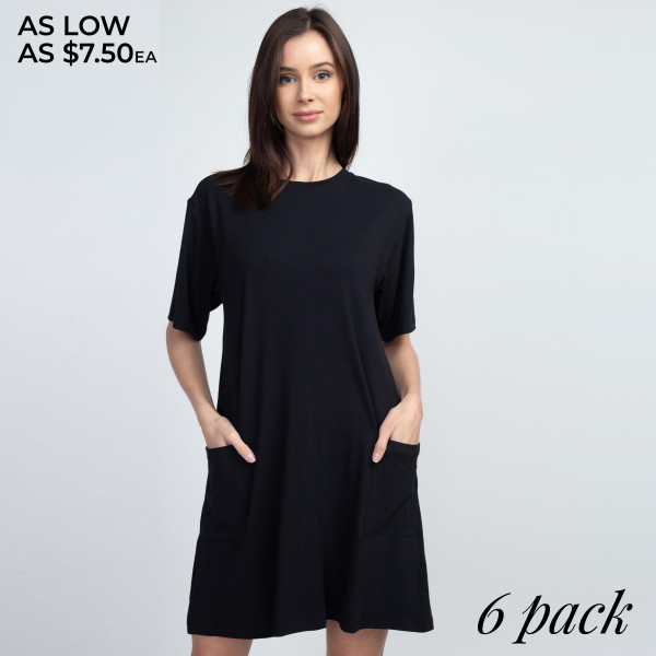 "Women's Solid Color Pocket T-Shirt Dress.  • Short • Crewneck • Two open front pockets • Above the knee length hem • Soft and stretchy fabric • Imported  - Pack Breakdown: 6pcs/pack - Sizes: 2-S / 2-M / 2-L - Approximately 34"" L - 95% Polyester / 5% Spandex"