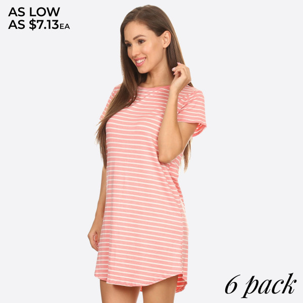 """Women's Short Sleeve Striped Tunic Dress.   - Scoop Neckline  - Short Sleeve  - Curved Hemline  - Closure Style: Pullover  - Rayon/Spandex  - Machine wash, lay flat to dry  - IMPORTED   - Pack Breakdown: 6pcs/pack - Sizes: 2-S / 2-M / 2-L - Approximately 34"""" L  - 96% Rayon / 4% Spandex"""