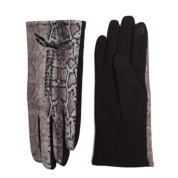 Snakeskin touch screen gloves.   - One size fits most - 100% Polyester