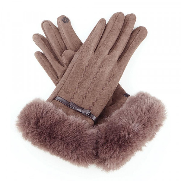 Fluffy faux fur suede smart touch gloves.  - One size fits most - 90% Faux Suede, 10% Polyester