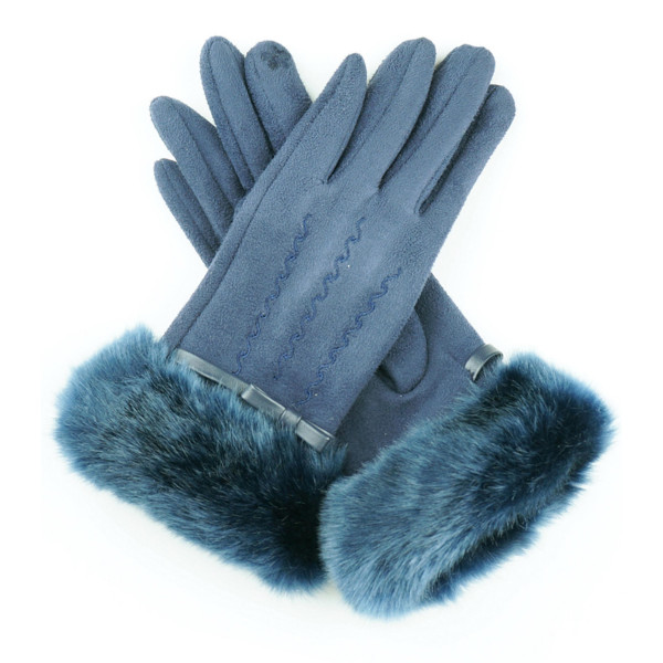 Faux Suede Faux Fur Cuff Smart Touch Gloves.  - Touchscreen Compatible - One size fits most - 90% Faux Suede, 10% Polyester