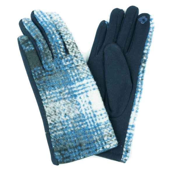 Gradation Plaid Smart Touch Gloves.  - Touchscreen Compatible - One size fits most - 100% Acrylic