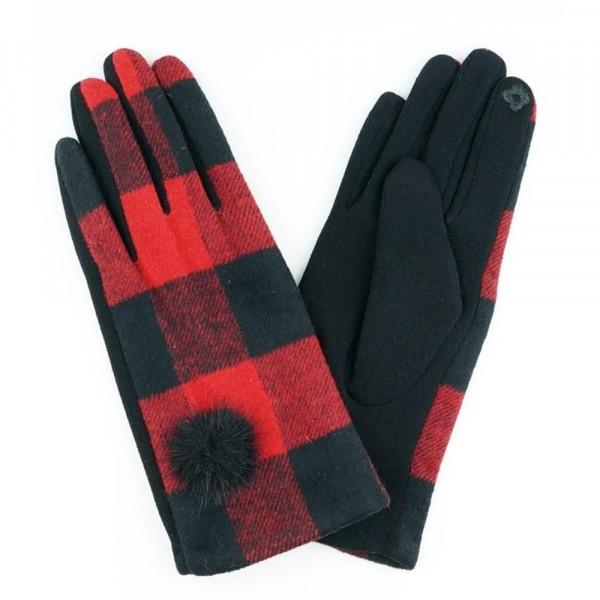 Wholesale buffalo check pom pom smart touch gloves One fits most Acrylic