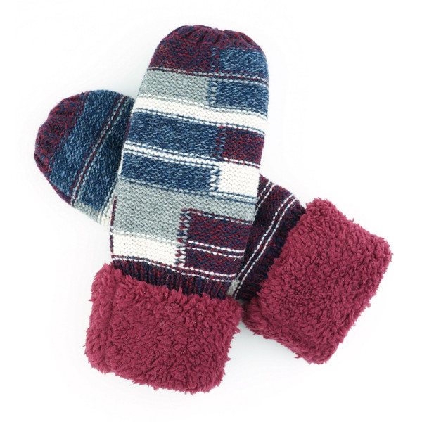 Color Block Sherpa Cuff Mittens.  - One size fits most  - 65% Acrylic, 35% Wool