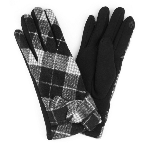 Wholesale knotted plaid smart touch gloves One fits most Polyester Cotton