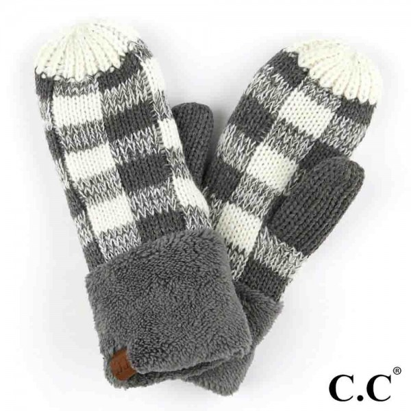 C.C MT-82  Buffalo check knit mitten  - 100% Acrylic - One size fits most - Matches C.C HAT-82