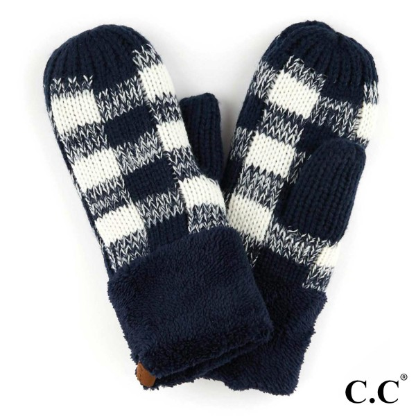 Wholesale c C MT Buffalo Check Knit Mitten Acrylic One fits most Matches C C HAT