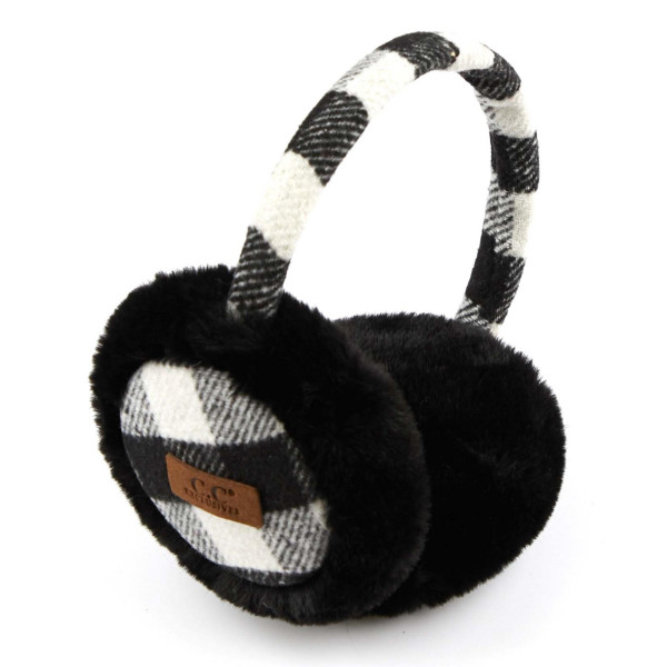 C.C EM-2380 Buffalo Check Faux Fur Earmuffs  - 50% Polyester, 50% Acrylic - One size fits most