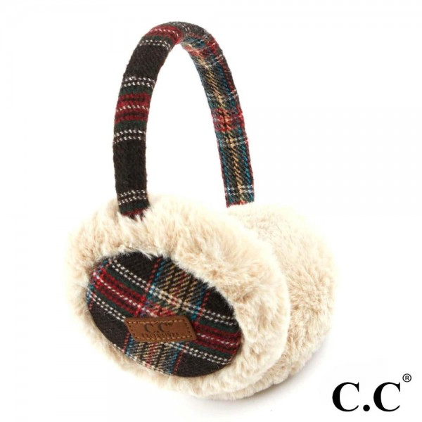 C.C EM-2339 Tartan Plaid Faux Fur Earrmuff  - 50% Polyester, 50% Acrylic - One size fits most