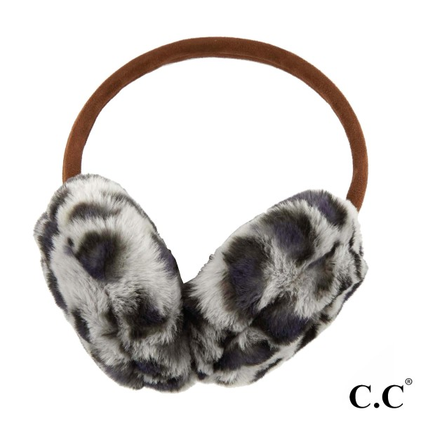 C.C EM-2364 Faux fur leopard print earmuff  - 100% Polyester - One size fits most