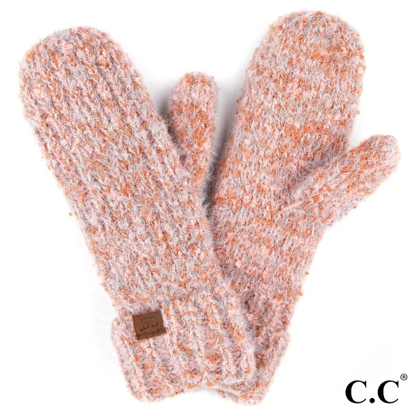 C.C MT-2035 Boucle Yarn Knit Mitten   - One size fits most  - 50% Polyester, 50% Nylon
