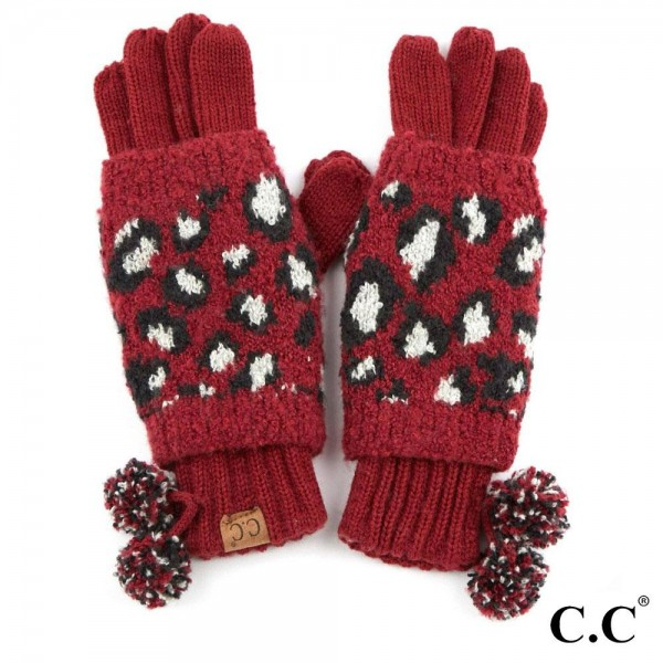 Wholesale c C CG Leopard Print Jacquard Knit Pom Pom Gloves Polyester One fits m