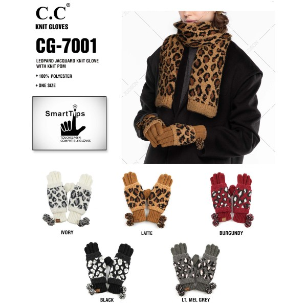 C.C CG-7001 Leopard Print Jacquard Knit Pom Pom Gloves.  - 100% Polyester - One size fits most - Matches C.C HAT-7001, HW-7001 and SF-7001