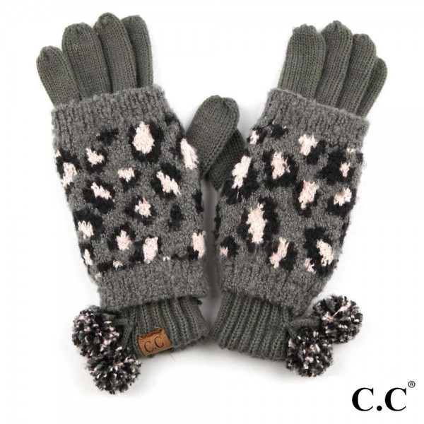 Wholesale c C CG Leopard Print Jacquard Knit Pom Pom Gloves Polyester One fits m