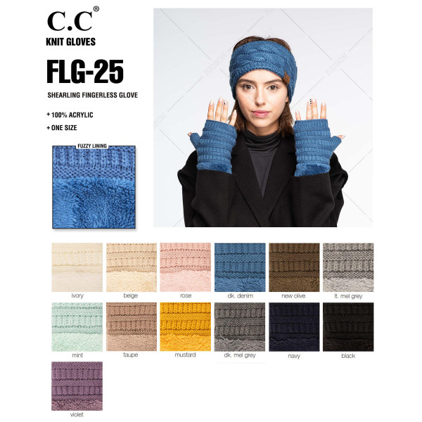 C.C FLG-25 Shearling fingerless glove  - 100% Acrylic - One size fits most