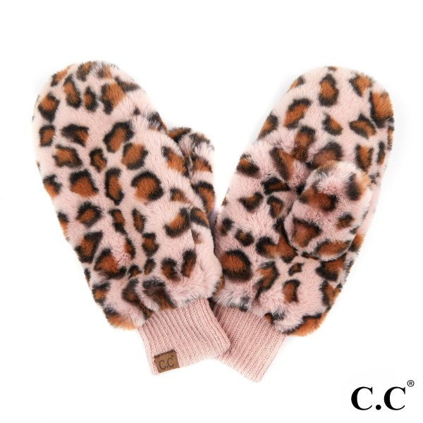 C.C MT-716 Faux fur leopard print texting mitten  - 100% Polyester - One size fits most