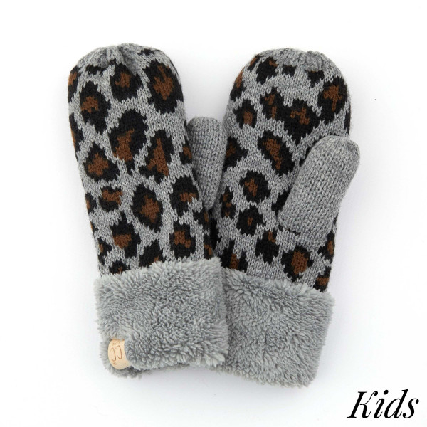 Wholesale c C MT KIDS Kids Leopard Print Knit Mittens Acrylic One fits most Matc