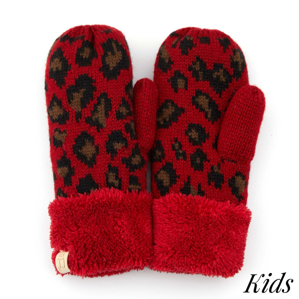 C.C MT-80-KIDS Kids Leopard Print Knit Mittens  - 100% Acrylic - One size fits most - Matches C.C KIDS-80, HAT-80, SF-80, HW-80 and G-80