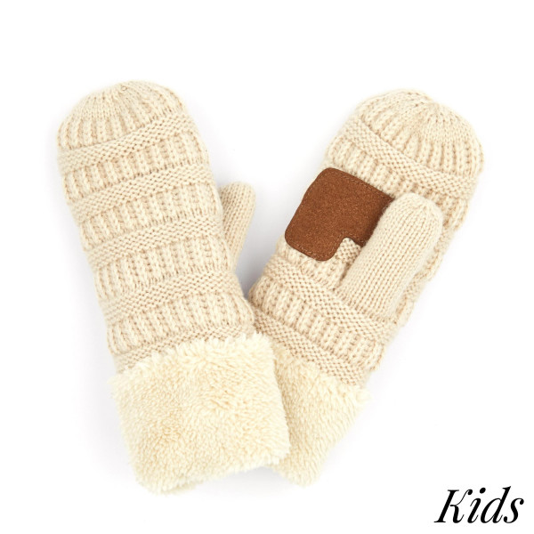C.C MT-25 KIDS Kids Ribbed Knit Sherpa Cuff Mitten  - One size fits most  - 100% Acrylic