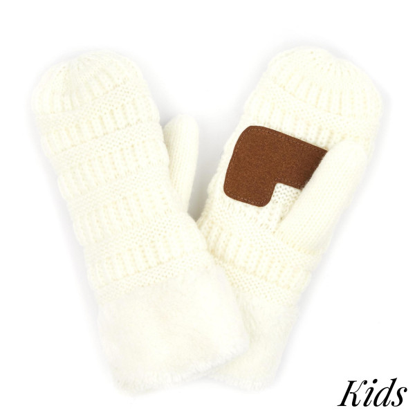 C.C MT-25 KIDS Kids Ribbed Knit Sherpa Cuff Mitten  - One size fits most  - 100% Acrylic
