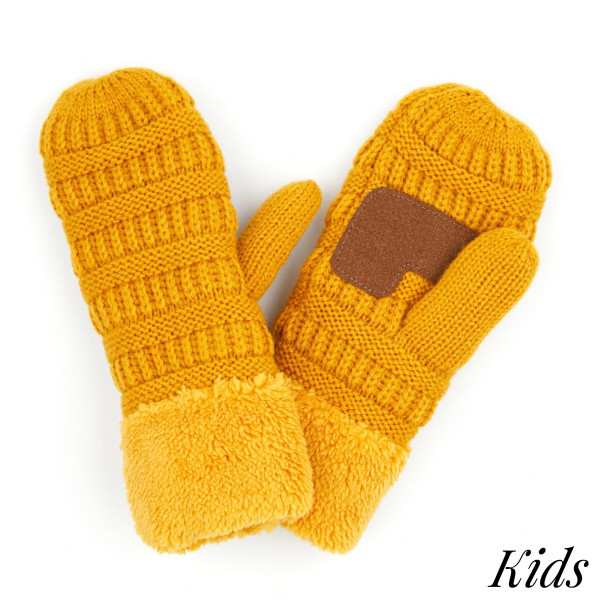 Wholesale c C MT KIDS Kids Ribbed Knit Sherpa Cuff Mitten One fits most Acrylic