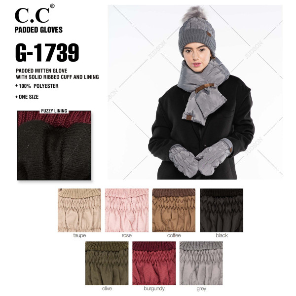 C.C G-1739 Padded mitten glove with solid ribbed cuff and fuzzy lining  - 100% Polyester - One size fits most