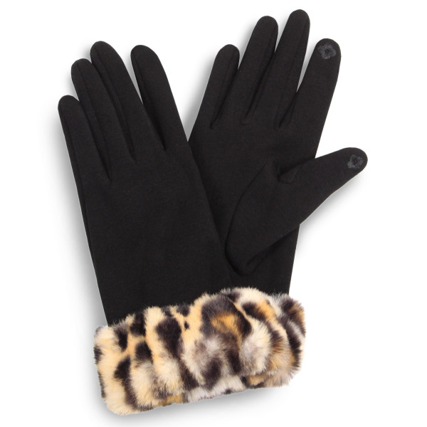 Solid Smart Touch Gloves Featuring Faux Fur Leopard Print Cuff.  - Touchscreen Compatible  - One size fits most - 100% Polyester